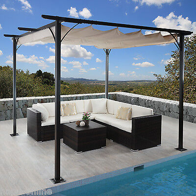 350x350 450x350 cm pavillon garten terrasse sonnenschutz pergola sonnensegel eur 579 00. Black Bedroom Furniture Sets. Home Design Ideas
