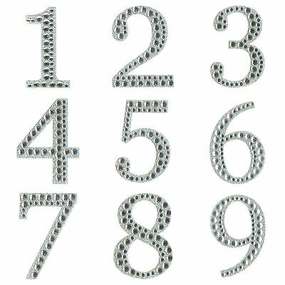 Large Self Adhesive 5cm Diamante & Glitter Single Numbers Sticker Art & Craft