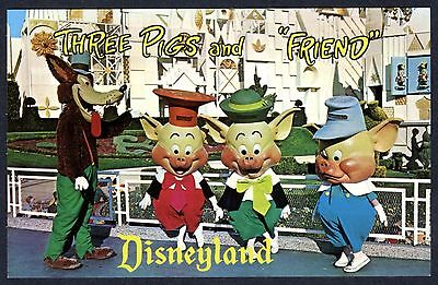 "1970s DISNEYLAND THREE LITTLE PIGS & FRIEND ""BIG BAD WOLF"" UNUSED MINT POSTCARD"