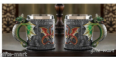 2 set medieval mug stainless steel cup royal winged serpent dragon handle statue