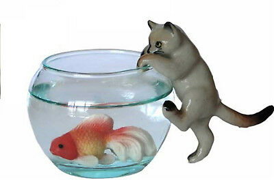 Siamese Cat on Glass Bowl with Fish Miniature Cat Figurine (2) Climbing In Bowl