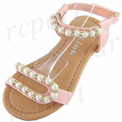 f1d2ef6a4 New girl s kids sandals Light pink pearl beads casual open toe summer