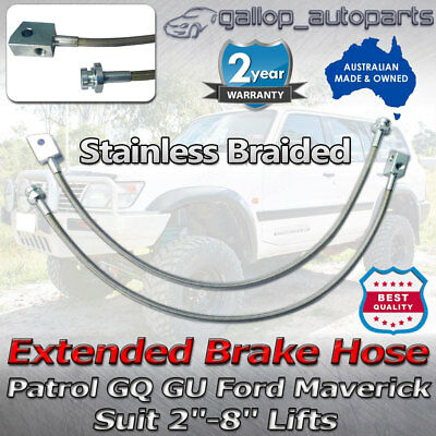 "2""-8"" Braided Extended Brake Lines Hose for Nissan Patrol GQ Y60 GU Y61 Lift Kit"