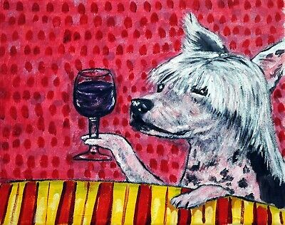 CHINESE CRESTED dog wine PRINT signed by artist JSCHMETZ 11x14