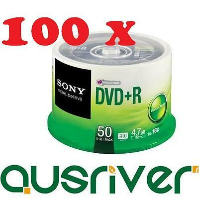 100x Sony DVD+R DVDR Recordable Blank Media Discs 16x 4.7GB 2x 50