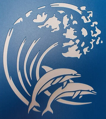 Scrapbooking - STENCILS TEMPLATES MASKS Sheet - Dolphins on a Wave