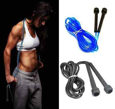 (Blue&Black) Plastic Nylon Skipping Rope Jumping Speed Fitness Exercise Rope