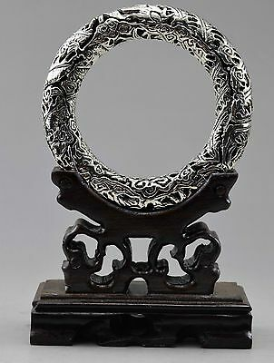 Collectible Old Handwork Tibet Silver Carved Hollowed Dragon Bracelet & Stands