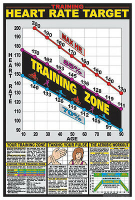 Cardiovascular Fitness TARGET HEART RATE Health Club Gym Wall Chart Poster