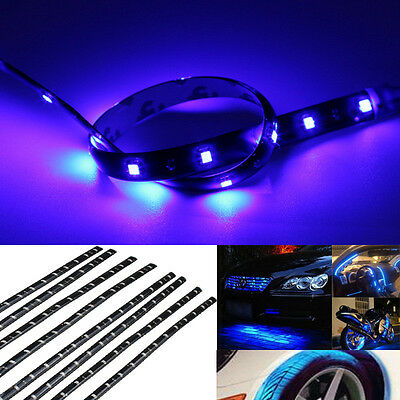 New 8Pcs 30cm 12V 15 LED Car Motor Vehicle Flexible Waterproof Strip Blue Light
