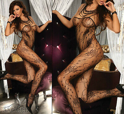 LivCo Chrysanthe Sexy Body Stocking Catsuit Schwarz Netz Blumenmuster Nylon HOT