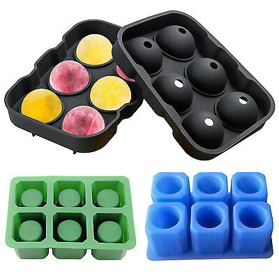6 Cavity Ice Ball Cube Pop Mold Shot Glass Tray Silicone Cool Shooters Mould