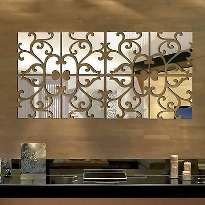 32pcs Removable 3D Vine Mirror Acrylic Wall Stickers Art Vinyl Decal Home Decor