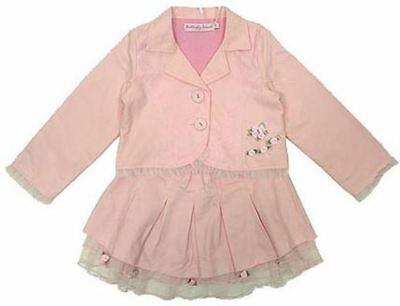 Girls Infant Jacket and Skirt Outfit Set Suit Light Pink Wedding Occasion