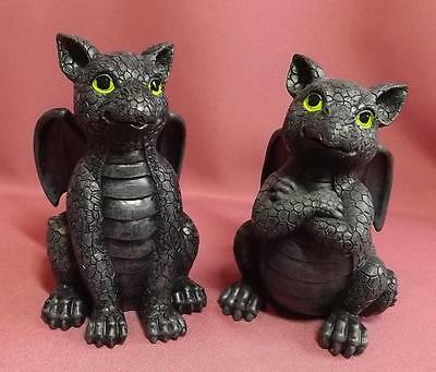 set of 2 CUTE  DRAGONS*INDOOR*ORNAMENT*POLYRESIN * NEW 13cm