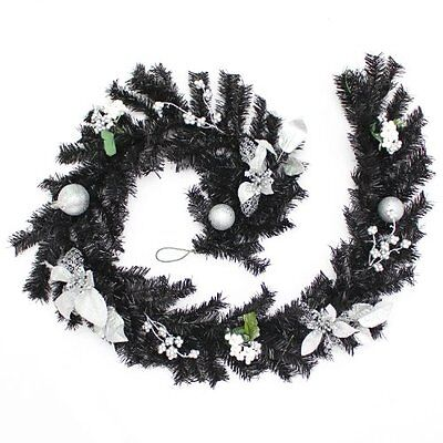 Werchristmas 6 Ft Decorated Garland Christmas Decoration Black/ Silver Home Hou