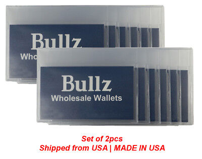 Set of 2 strong plastic wallet inserts for checkbook and long wallet MADE IN USA