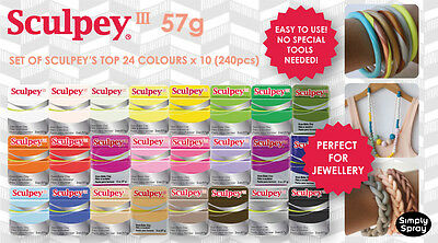 Sculpey III 24 Colours x 10 (240pcs) Oven Bake Clay - Craft/Jewllery/Toys/Gifts