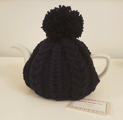 Hand Knitted Aran Tea Cosy - Navy Blue