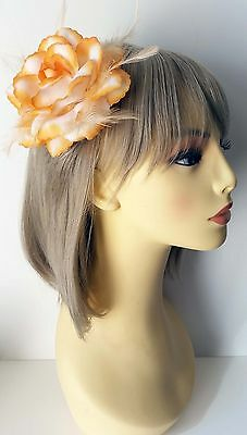 Gorgeous large orange & white fabric - feather glitter flower hair clip - bobble