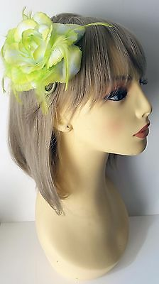 Gorgeous large green & white fabric - feather glitter flower hair clip - bobble