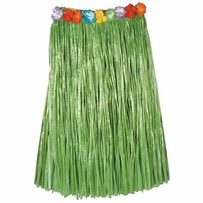 Luau Party Green Hula Skirt Artificial Grass w/ Floral Waist Adult Size