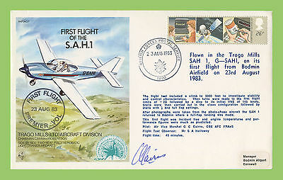 G.B. 1983 First Flight of the S.A.H1, flown & signed RAF cover