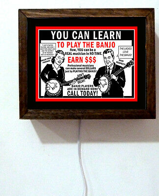 Learn To Play The Banjo Retro Vintage Art Music Room Teacher Light Lighted Sign