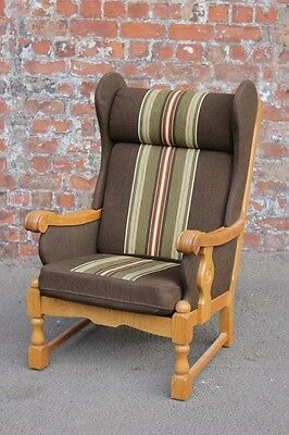 Continental Danish Light Oak Framed Wing-Back Easy Chair - Vintage Armchair