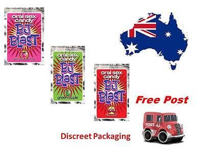 BJ Blast Strawberry Oral Sex Candy, Hen's Bucks Novelty Party free post