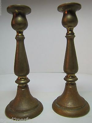 Antique Candlesticks small pair bronze brass fine details lovely old worn patina