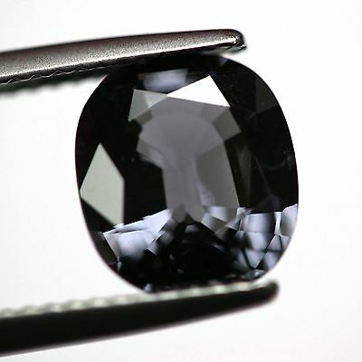 Loose Natural untreated Oval step cut Metallic Bluish Gray Spinel 3.14ct VIDEO<-