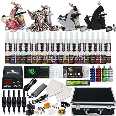 Complete Tattoo Kit 4 Machine Gun Power Supply 40 Color Ink Set Needles D176QD