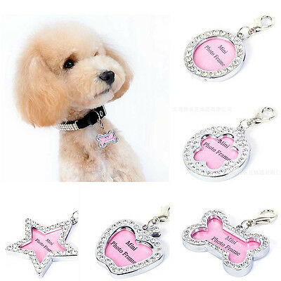 Dog Cat Kitten Puppy Rhinestone ID Name Tag Disc Personalised Pet Identity Tags