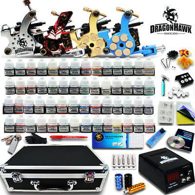 Tattoo Kit 4 Machines Gun 40 color Inks Power supply needles Grip Tip D139QD-4