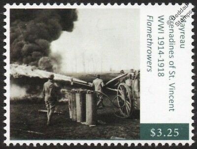 WWI Weapons of War / Italian Army Flamethrower in Action Stamp