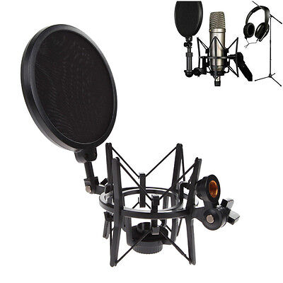 Mic Microphone Shock Mount Stand Studio Holder Integrated Pop Filter Adjustable