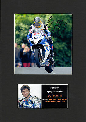 Guy Martin Superbikes motorsport Quality signed Mounted Pre-Print 12 x 8.2 A4