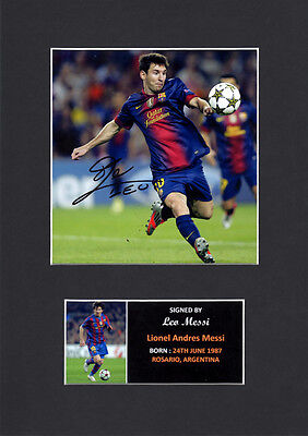 Leo Messi Barcelona Argentina Quality signed Mounted Pre-Print 12 x 8.2 A4 #