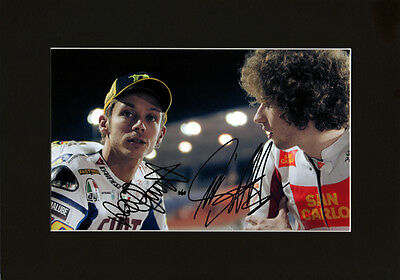 Marco Simoncelli & Valentino Rossi Quality signed Mounted Pre-Print 12 x 8.2 A4