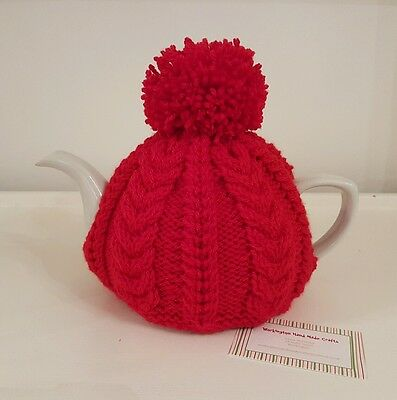 Hand Knitted Aran Tea Cosy - Red