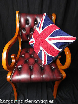 Vintage Chesterfield Leather Gainsborough Style Captains Chair Oxblood Red