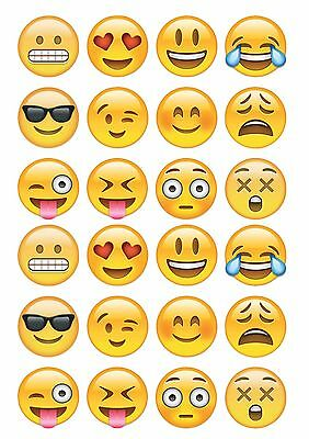24 Emoji Smiley faces ND2 icing cake toppers decorations