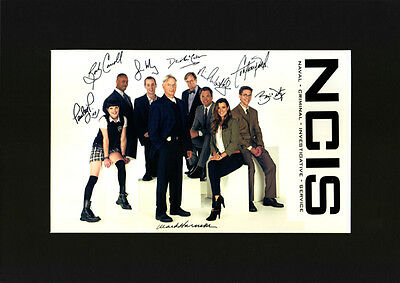 NCIS cast Gibbs Abby etc Quality signed Mounted Pre-Print 12 x 8.2 A4 BRAND NEW
