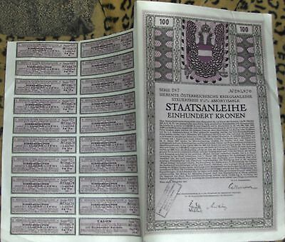 Austria. Staatsanlehe - Government War Bond 1917 in 7 languages FV 100 Crowns