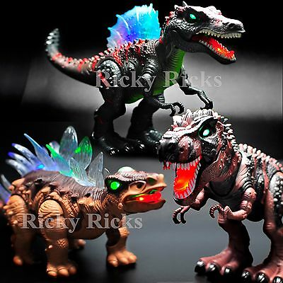 Walking T Rex Dinosaur Spinosaurus Light-Up Toys LED Roaring Sound Birthday Gift