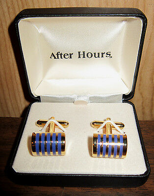 Brand New Blue & Gold Striped Dome Cuff Links Cheap Bargain *Free Shipping*