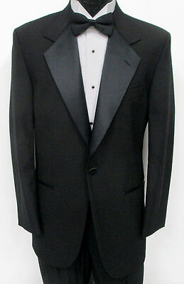 New Black One Button Satin Notch 100% Wool Tuxedo Jacket Wedding Prom Formal 58L