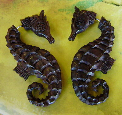 Seahorse  Organic Hand Carved Fake Gauges Wood Earrings Natural tribal style