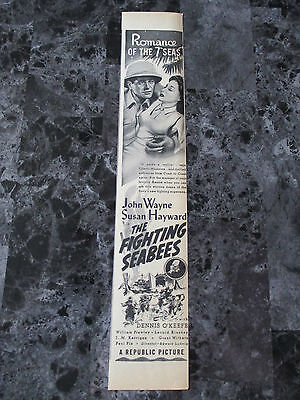 "Vintage 1944 John Wayne The Fighting Seabees Movie Print Ad, 14"" X 2.5"""